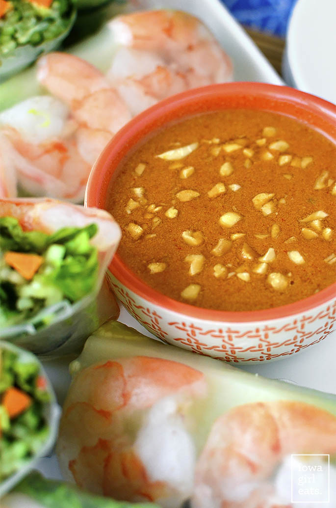 Fresh Summer Rolls with Spicy Peanut Dipping Sauce - Iowa ...