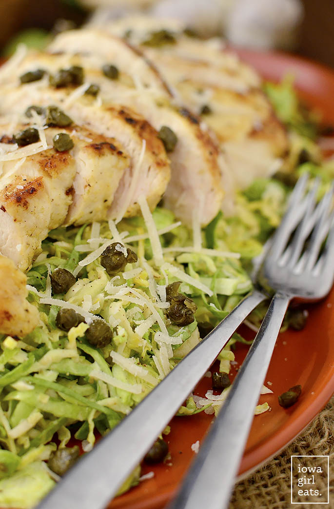 shredded brussels sprouts  u0026 chicken caesar salad